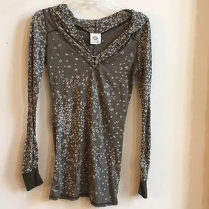 Free People Gray Stars/Moons Hoodie Top Size S